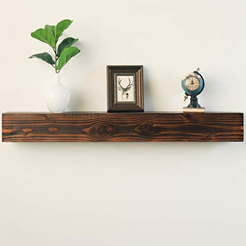 WELLAND Rustic Floating Shelf Reclaimed Wood Wall Shelf Fireplace Mantel Shelf Wall MountedWalnut Color 48 W X 6 D X 6 H 0 4