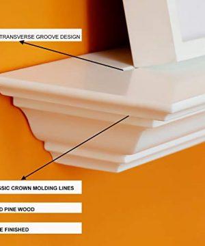 WELLAND White 60 Inch Fireplace Mantel Shelf Wall MountedSolid Pine Wood Finished Corona Crown Molding Floating Wall Photo Ledge Shelves 0 1 300x360