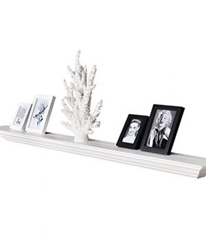 WELLAND White 60 Inch Fireplace Mantel Shelf Wall MountedSolid Pine Wood Finished Corona Crown Molding Floating Wall Photo Ledge Shelves 0 300x360