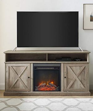 Walker Edison Atticus Farmhouse Tall X Barn Door Fireplace Stand For TVs Up To 65 Inches 60 Inch Grey Wash 0 0 300x360