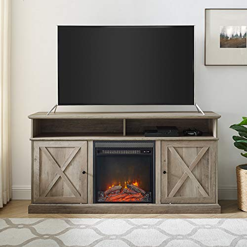 Walker Edison Atticus Farmhouse Tall X Barn Door Fireplace Stand For TVs Up To 65 Inches 60 Inch Grey Wash 0 0