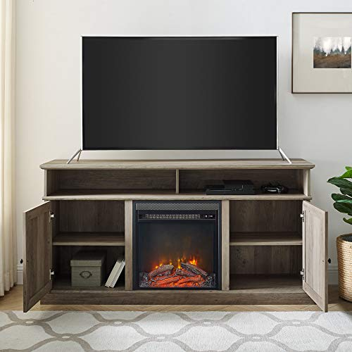 Walker Edison Atticus Farmhouse Tall X Barn Door Fireplace Stand For TVs Up To 65 Inches 60 Inch Grey Wash 0 1