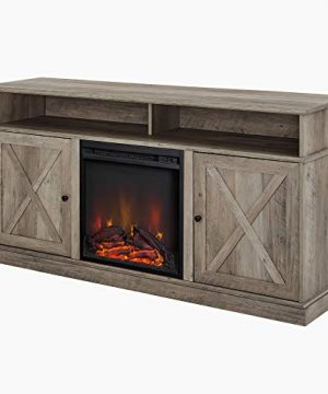 Walker Edison Atticus Farmhouse Tall X Barn Door Fireplace Stand For TVs Up To 65 Inches 60 Inch Grey Wash 0 2 300x360