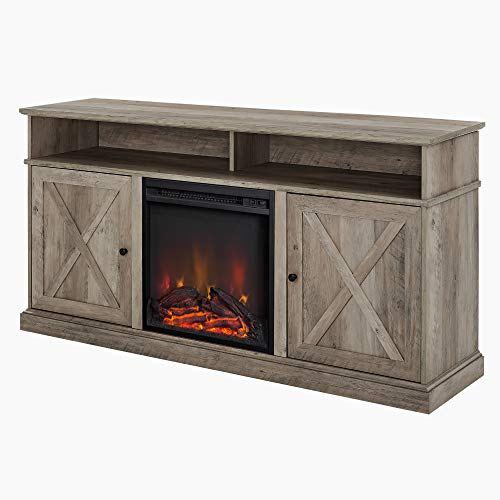 Walker Edison Atticus Farmhouse Tall X Barn Door Fireplace Stand For TVs Up To 65 Inches 60 Inch Grey Wash 0 2