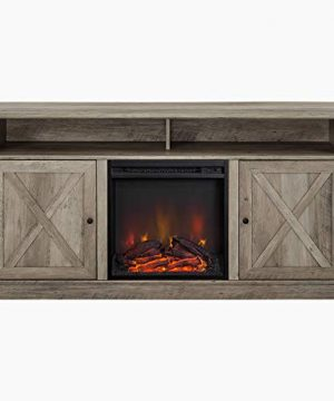 Walker Edison Atticus Farmhouse Tall X Barn Door Fireplace Stand For TVs Up To 65 Inches 60 Inch Grey Wash 0 3 300x360