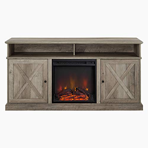 Walker Edison Atticus Farmhouse Tall X Barn Door Fireplace Stand For TVs Up To 65 Inches 60 Inch Grey Wash 0 3