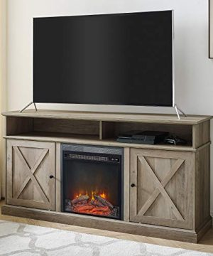 Walker Edison Atticus Farmhouse Tall X Barn Door Fireplace Stand For TVs Up To 65 Inches 60 Inch Grey Wash 0 300x360
