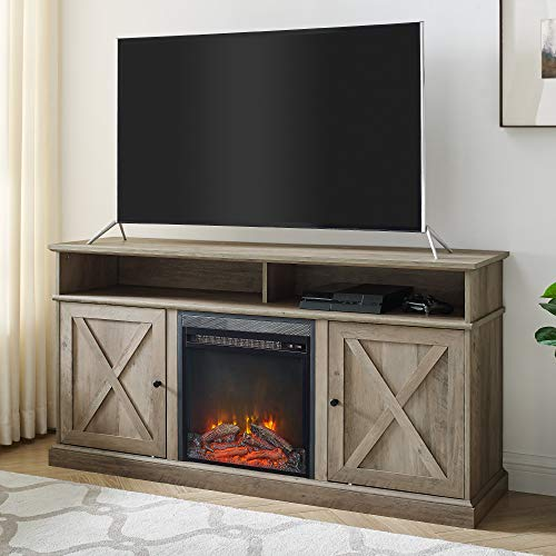 Walker Edison Atticus Farmhouse Tall X Barn Door Fireplace Stand For TVs Up To 65 Inches 60 Inch Grey Wash 0