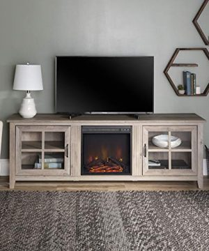 Walker Edison Bern Classic 2 Glass Door Fireplace TV Stand For TVs Up To 80 Inches 70 Inch Grey Wash 0 300x360