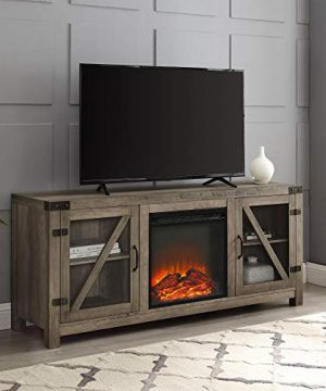 Walker Edison Farmhouse Barn Wood And Glass Fireplace Stand For TVs Up To 64 Flat Screen Living Room Storage Cabinet Doors And Shelves Entertainment Center 58 Inch Grey Wash 0 300x360