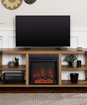 Walker Edison Faye Modern Farmhouse Metal X Fireplace TV Stand For TVs Up To 65 Inches 60 Inch Reclaimed Barnwood 0 0 300x360