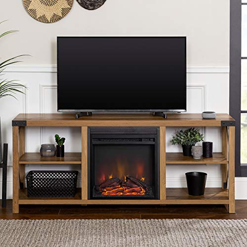 Walker Edison Faye Modern Farmhouse Metal X Fireplace TV Stand For TVs Up To 65 Inches 60 Inch Reclaimed Barnwood 0 0