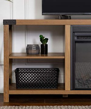 Walker Edison Faye Modern Farmhouse Metal X Fireplace TV Stand For TVs Up To 65 Inches 60 Inch Reclaimed Barnwood 0 1 300x360