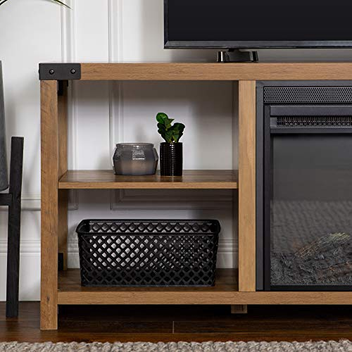 Walker Edison Faye Modern Farmhouse Metal X Fireplace TV Stand For TVs Up To 65 Inches 60 Inch Reclaimed Barnwood 0 1