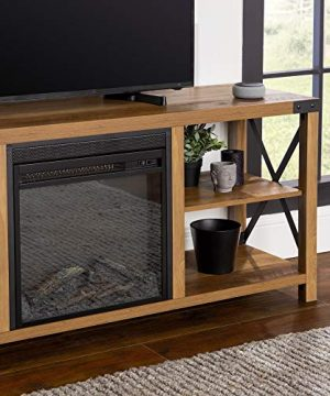 Walker Edison Faye Modern Farmhouse Metal X Fireplace TV Stand For TVs Up To 65 Inches 60 Inch Reclaimed Barnwood 0 2 300x360