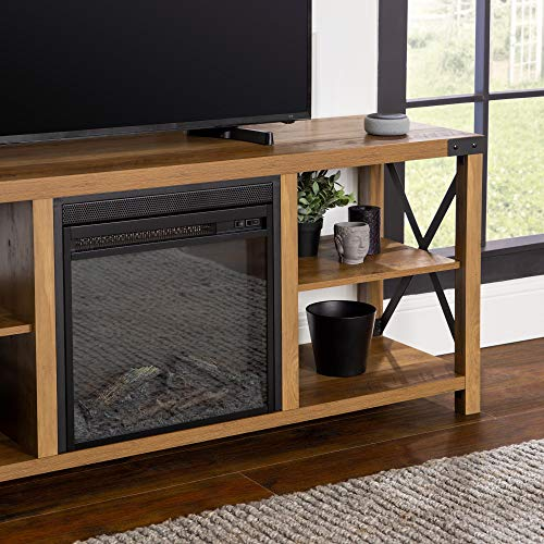Walker Edison Faye Modern Farmhouse Metal X Fireplace TV Stand For TVs Up To 65 Inches 60 Inch Reclaimed Barnwood 0 2