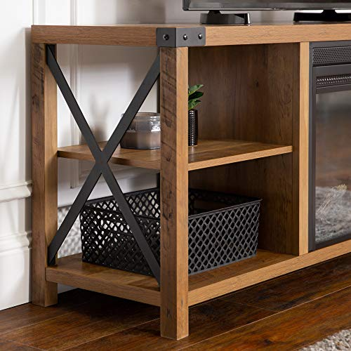 Walker Edison Faye Modern Farmhouse Metal X Fireplace TV Stand For TVs Up To 65 Inches 60 Inch Reclaimed Barnwood 0 3