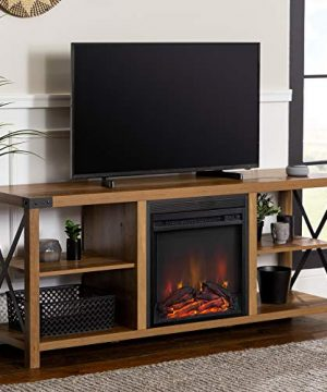 Walker Edison Faye Modern Farmhouse Metal X Fireplace TV Stand For TVs Up To 65 Inches 60 Inch Reclaimed Barnwood 0 300x360