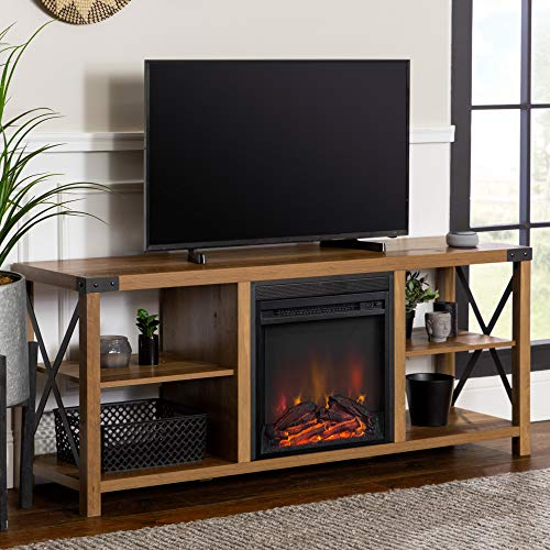 Walker Edison Faye Modern Farmhouse Metal X Fireplace TV Stand For TVs Up To 65 Inches 60 Inch Reclaimed Barnwood 0