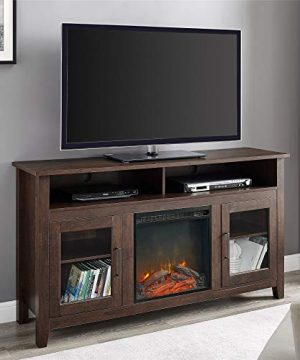 Walker Edison Glenwood Rustic Farmhouse Glass Door Highboy Fireplace TV Stand For TVs Up To 65 Inches 58 Inch Brown 0 300x360