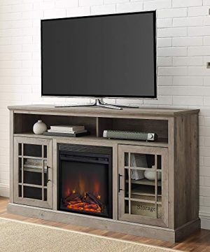 Walker Edison Hoxton Classic 2 Glass Door Fireplace Stand For TVs Up To 65 Inches 58 Inch Grey Wash 0 300x360