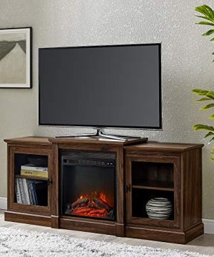 Walker Edison Penn Penn Classic Two Tier Fireplace TV Stand For TVs Up To 65 Inches 60 Inch Dark Walnut 0 300x360