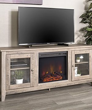 Walker Edison Rustic Wood And Glass Fireplace Stand For TVs Up To 64 Flat Screen Living Room Storage Cabinet Doors And Shelves Entertainment Center 24 Inches Tall Grey Wash AZ58FP4DWGW 0 300x360