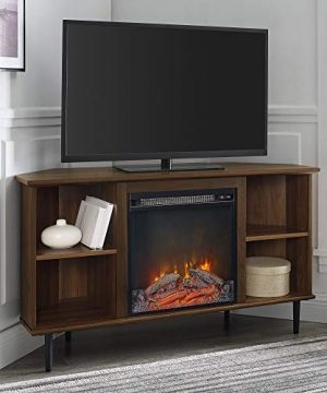Walker Edison Simple Corner Fireplace Stand With Open 52 Flat Screen Universal TV Console Living Room Shelves Entertainment Center 48 Inch Dark Walnut 0 300x360