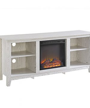 Walker Edison Wren Classic 4 Cubby Fireplace TV Stand For TVs Up To 65 Inches 58 Inch White Wash 0 3 300x360
