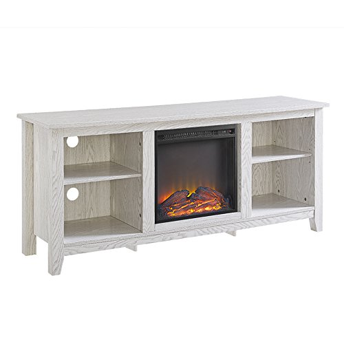 Walker Edison Wren Classic 4 Cubby Fireplace TV Stand For TVs Up To 65 Inches 58 Inch White Wash 0 3