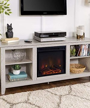 Walker Edison Wren Classic 4 Cubby Fireplace TV Stand For TVs Up To 65 Inches 58 Inch White Wash 0 300x360