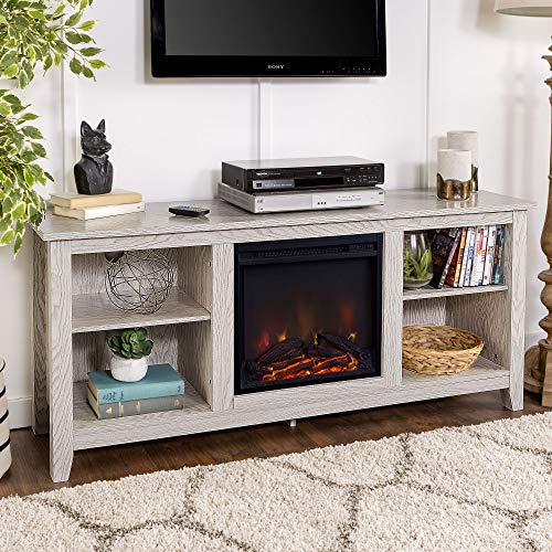 Walker Edison Wren Classic 4 Cubby Fireplace TV Stand For TVs Up To 65 Inches 58 Inch White Wash 0