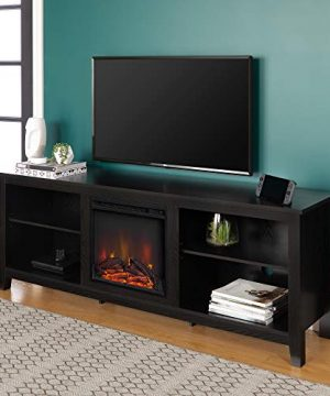 Walker Edison Wren Classic 4 Cubby Fireplace TV Stand For TVs Up To 80 Inches 70 Inch Black 0 300x360