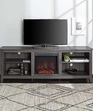Walker Edison Wren Classic 4 Cubby Fireplace TV Stand For TVs Up To 80 Inches 70 Inch Charcoal Grey 0 0 300x360