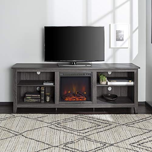 Walker Edison Wren Classic 4 Cubby Fireplace TV Stand For TVs Up To 80 Inches 70 Inch Charcoal Grey 0 0
