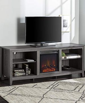 Walker Edison Wren Classic 4 Cubby Fireplace TV Stand For TVs Up To 80 Inches 70 Inch Charcoal Grey 0 300x360