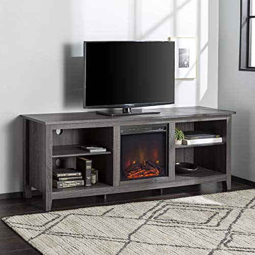 Walker Edison Wren Classic 4 Cubby Fireplace TV Stand For TVs Up To 80 Inches 70 Inch Charcoal Grey 0