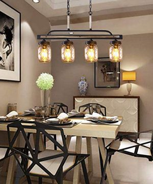 Wellmet Farmhouse Chandelier For Kitchen Light Fixtures 4 Lights Mason Jar Pendant Light For Dining Room Lighting Fixtures Hanging Faux Wood And Black Metal Finish 0 0 300x360