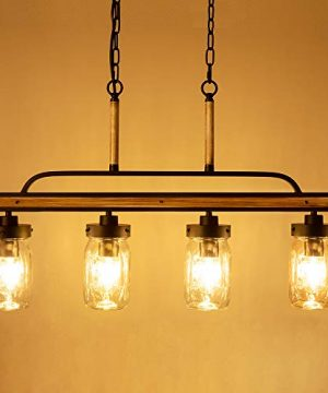 Wellmet Farmhouse Chandelier For Kitchen Light Fixtures 4 Lights Mason Jar Pendant Light For Dining Room Lighting Fixtures Hanging Faux Wood And Black Metal Finish 0 1 300x360
