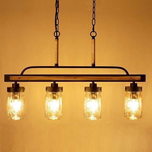Wellmet Farmhouse Chandelier For Kitchen Light Fixtures 4 Lights Mason Jar Pendant Light For Dining Room Lighting Fixtures Hanging Faux Wood And Black Metal Finish 0 1