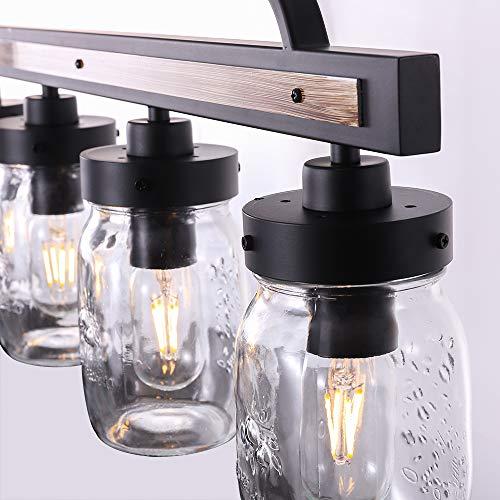 Wellmet Farmhouse Chandelier For Kitchen Light Fixtures 4 Lights Mason Jar Pendant Light For Dining Room Lighting Fixtures Hanging Faux Wood And Black Metal Finish 0 3