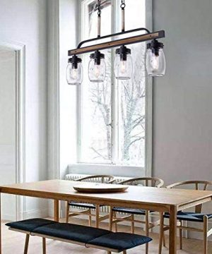 Wellmet Farmhouse Chandelier For Kitchen Light Fixtures 4 Lights Mason Jar Pendant Light For Dining Room Lighting Fixtures Hanging Faux Wood And Black Metal Finish 0 4 300x360