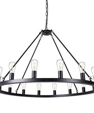 Wellmet Matte Black Wagon Wheel Chandelier 16 Light Diam 47 Inch Farmhouse Rustic Industrial Country Style Large Round Pendant Light Fixture For Dining Room Living Room 0 300x360