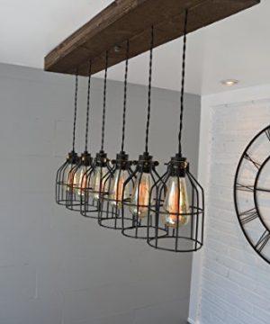 West Ninth Vintage Fayette Wood Pendant Chandelier Light Farmhouse Rustic Lighting For Kitchen Island Dining Room Bar Industrial Billiard Table Edison Cages Six Pendants Jacobean 0 1 300x360