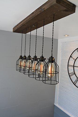 West Ninth Vintage Fayette Wood Pendant Chandelier Light Farmhouse Rustic Lighting For Kitchen Island Dining Room Bar Industrial Billiard Table Edison Cages Six Pendants Jacobean 0 1
