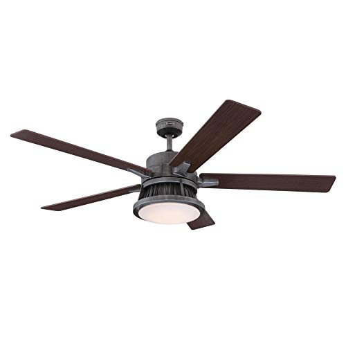 Westinghouse Lighting 7220400 Chambers 60 Inch Distressed Aluminum Indoor Dimmable LED Light Kit Opal Frosted Glass Removable Cage Remote Control Ceiling Fan 0 0