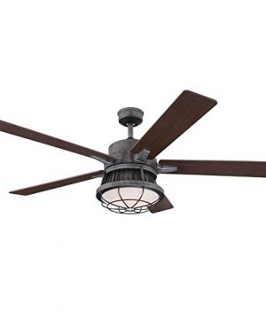 Westinghouse Lighting 7220400 Chambers 60 Inch Distressed Aluminum Indoor Dimmable LED Light Kit Opal Frosted Glass Removable Cage Remote Control Ceiling Fan 0 300x360