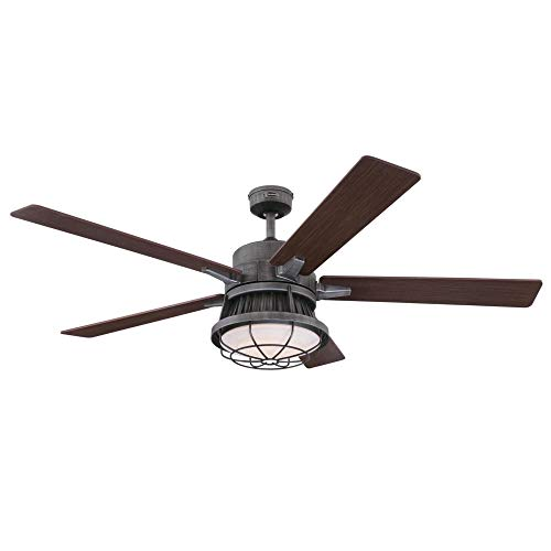Westinghouse Lighting 7220400 Chambers 60 Inch Distressed Aluminum Indoor Dimmable LED Light Kit Opal Frosted Glass Removable Cage Remote Control Ceiling Fan 0