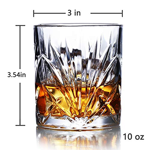 Whiskey Glasses Set Of 6 10oz Premium Lead Free Crystal Whiskey Glass Rock Style Old Fashioned Glass For Drinking Scotch Bourbon Cognac Irish Whisky And Old Fashioned Cocktails 0 2