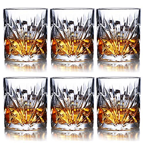 Whiskey Glasses Set Of 6 10oz Premium Lead Free Crystal Whiskey Glass Rock Style Old Fashioned Glass For Drinking Scotch Bourbon Cognac Irish Whisky And Old Fashioned Cocktails 0